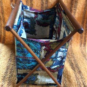 Vintage fabric yarn knitting magazine basket